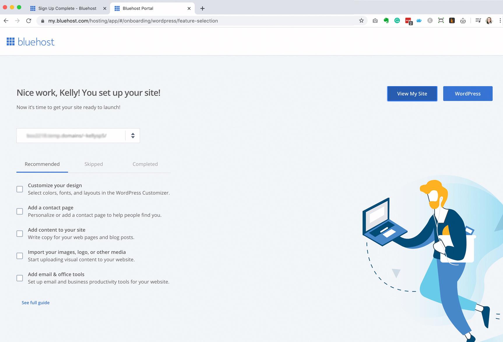 Bluehost Install WordPress Complete
