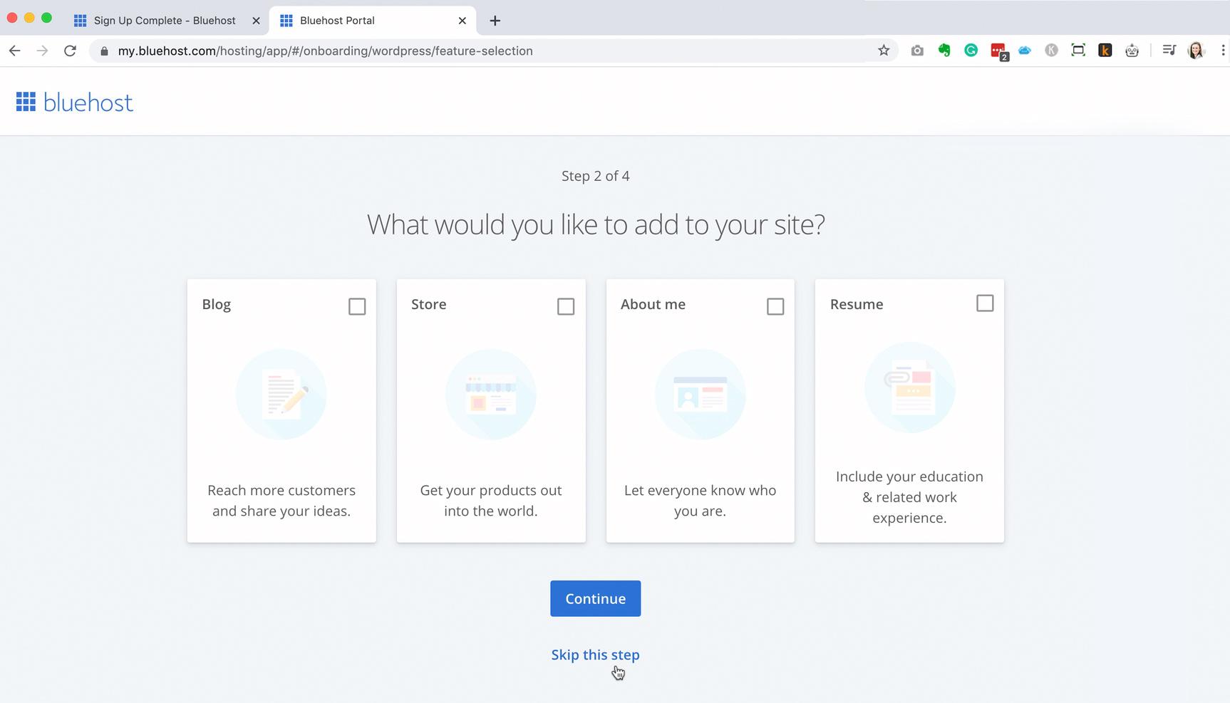Bluehost install WordPress step 2