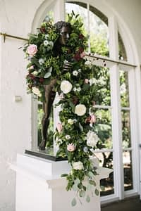 Roses Peonies Eucalyptus Flower Wedding Venue Arrangement Decoration Wild Wood London Bespoke Floral Studio