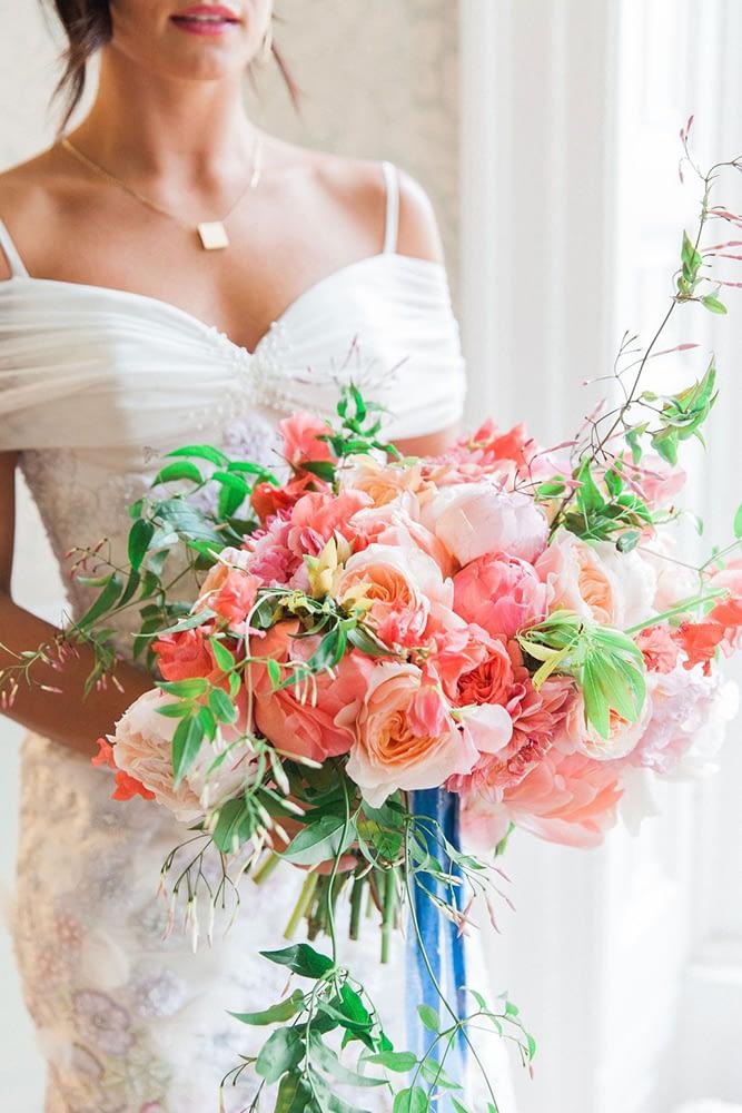 Bride Holding Summer Wedding Bouquet