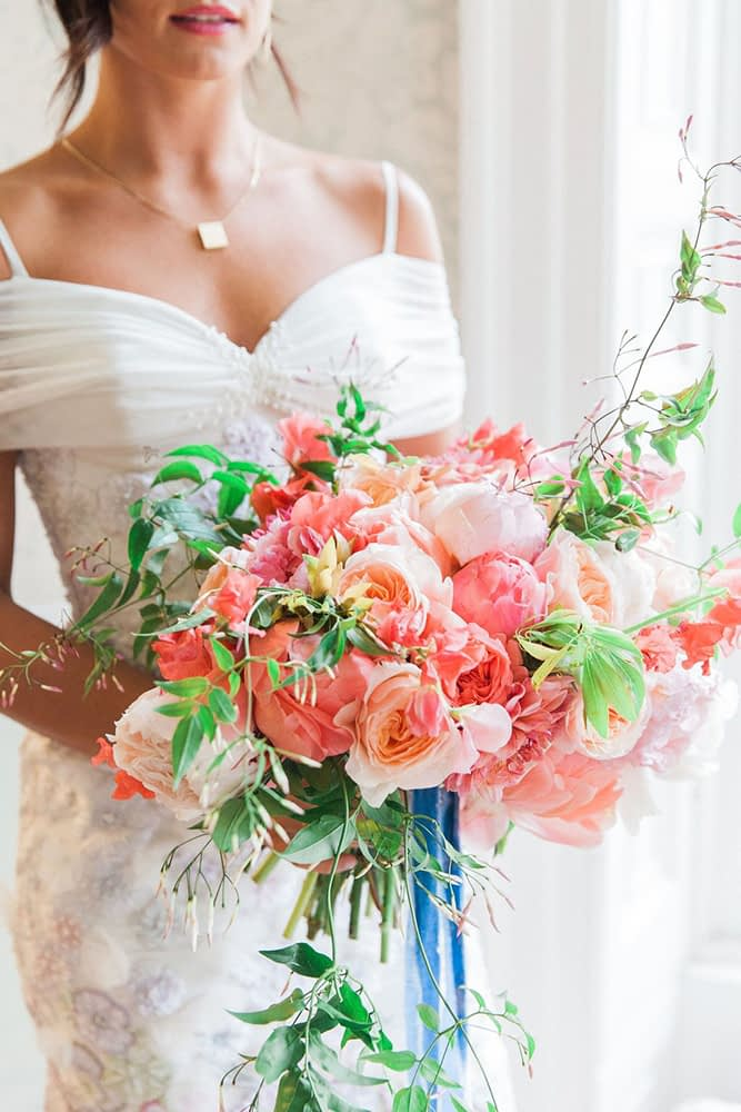 Bride Holding Summer Wedding Bouquet