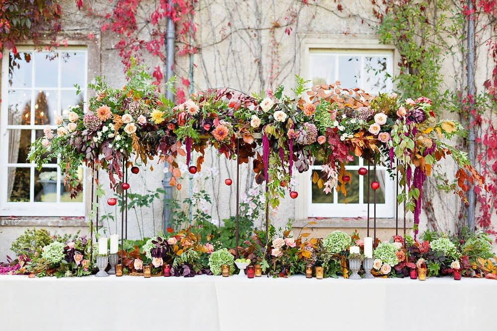 Event Table Hanging Flower Installation