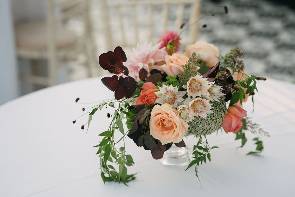 Autumnal Wedding Flower Table Centrepiece