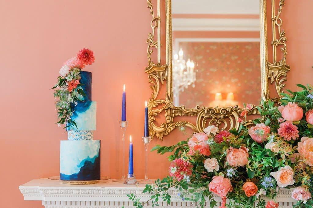 Colourful Wedding Cake with Flowers and Candles