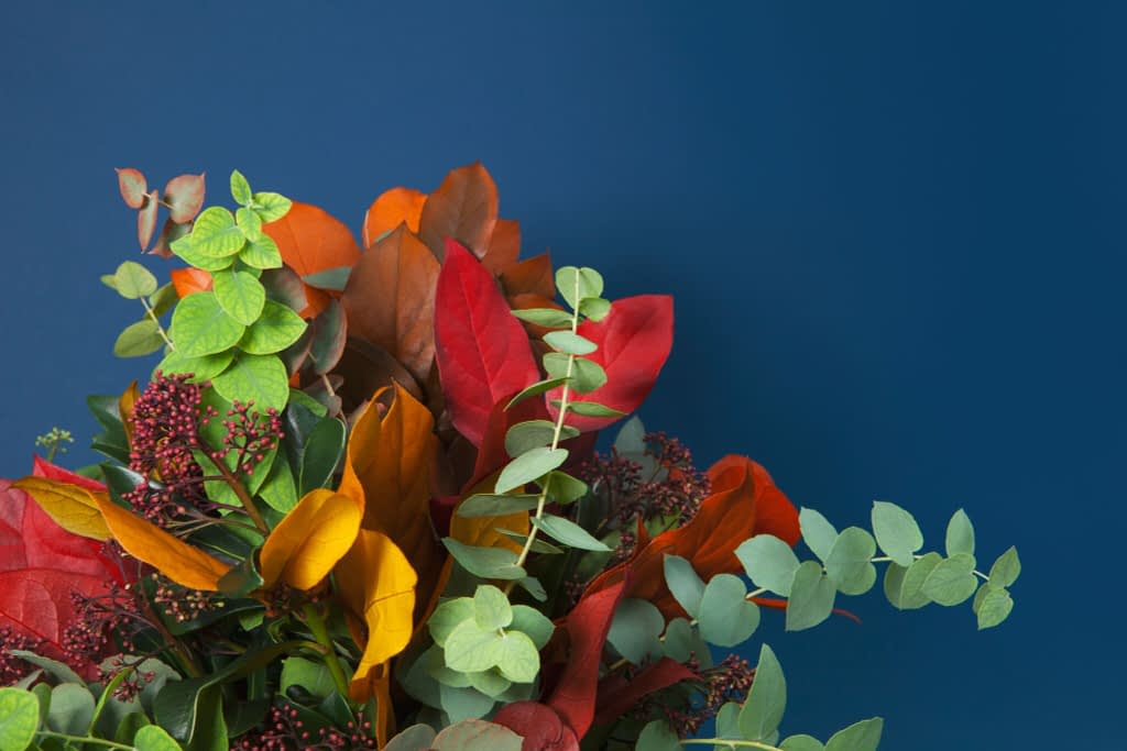 Colourful Flower Arrangement with Eucalyptus