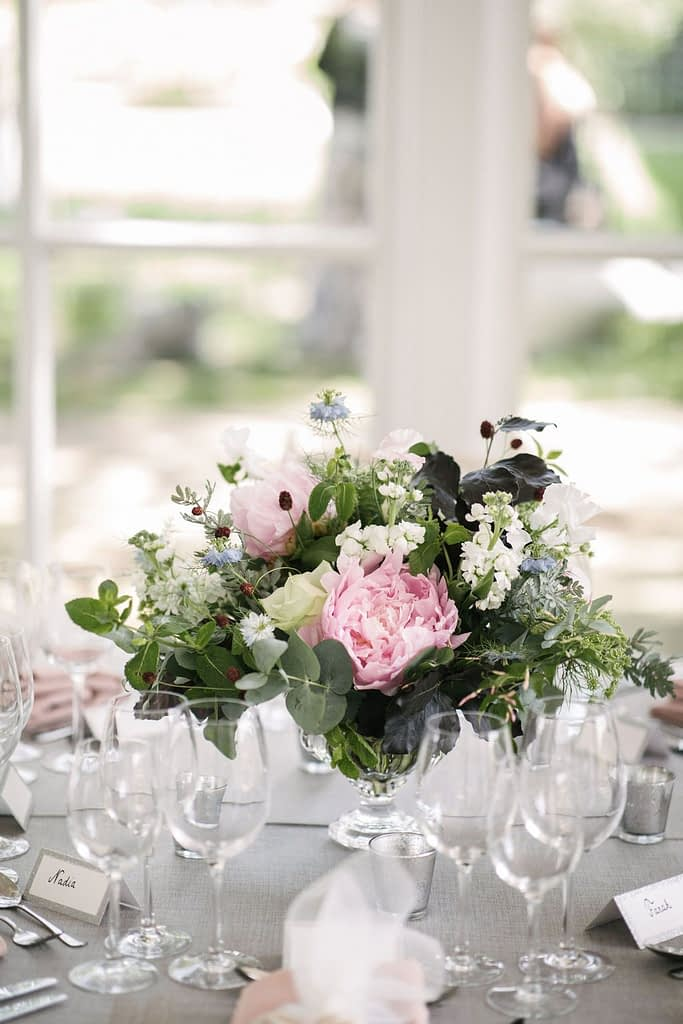 Summer Wedding Centrepiece Peony Rose Sanguisorba Mimosa Nigella Eucalyptus and Continus