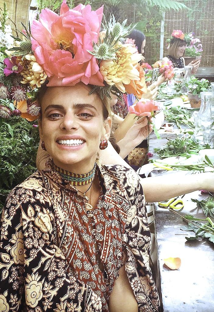 Lady Wearing Handmade Flower Crown at Masterclass