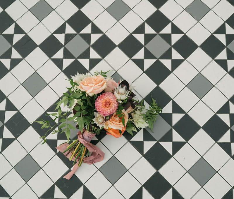 Autumnal Wedding Flower Bouquet Floor Photo